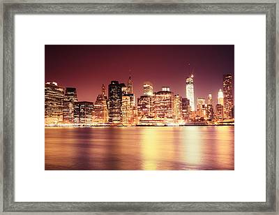 Big Apple - Night Skyline - New York City Framed Print by Vivienne Gucwa