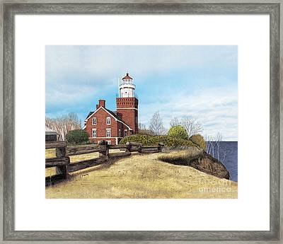Big Bay Point Lighthouse Framed Print by Darren Kopecky