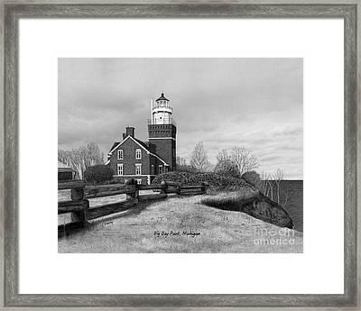 Big Bay Point Lighthouse Titled Framed Print by Darren Kopecky