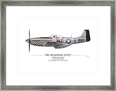 Big Beautiful Doll P-51d Mustang - White Background Framed Print by Craig Tinder
