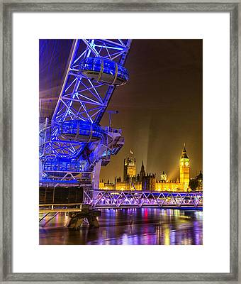 Big Ben And The London Eye Framed Print by Ian Hufton