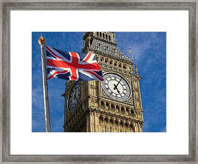 Big Ben And Union Jack Framed Print by Neven Milinkovic