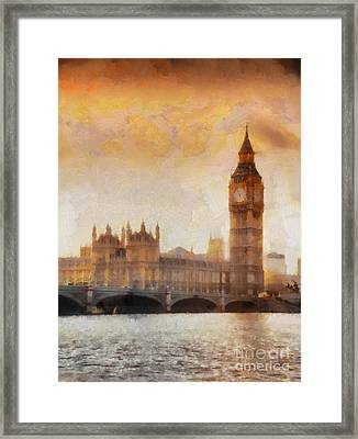 Big Ben At Dusk Framed Print by Pixel Chimp