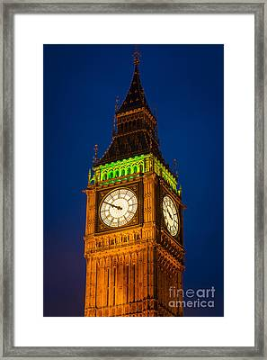 Big Ben At Night Framed Print by Inge Johnsson