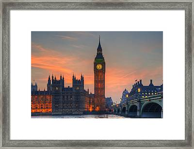 Big Ben Parliament And A Sunset Framed Print