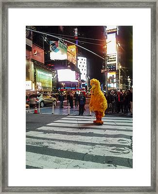 Big Bird On Times Square Framed Print by Scott Campbell