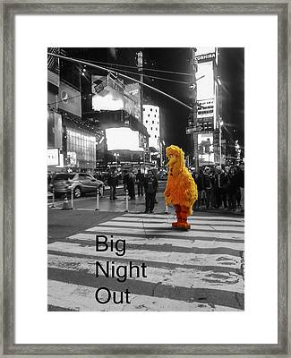 Big Birds Big Night Out In Nyc Black And White Framed Print by Scott Campbell