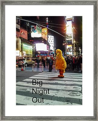 Big Birds Big Night Out In Nyc Framed Print by Scott Campbell