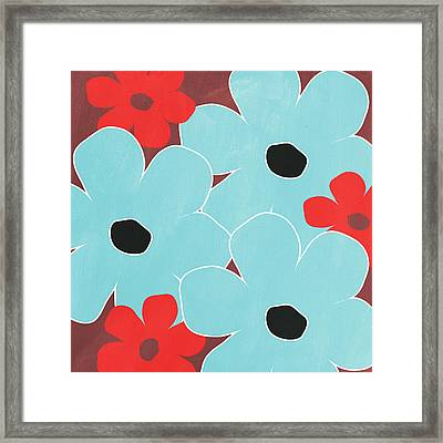Big Blue Flowers Framed Print by Linda Woods