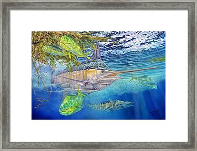 Big Blue Hunting In The Weeds Framed Print by Terry  Fox