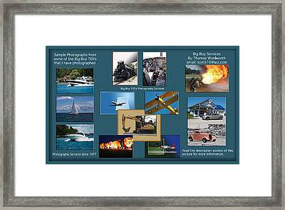 Big Boy Toys Photography Services Framed Print by Thomas Woolworth