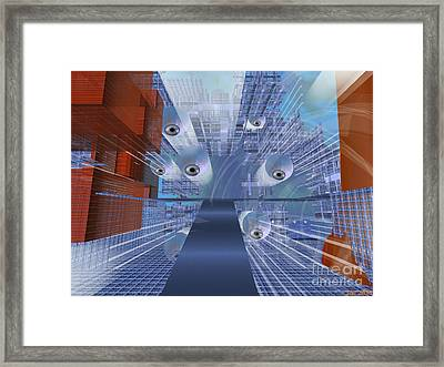 Framed Print featuring the digital art Big Brother Is Watching by Susanne Baumann