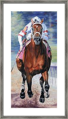 Big Brown Charging Down The Stretch Framed Print by Thomas Allen Pauly