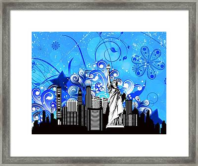 Framed Print featuring the digital art Big City Blues 4 Liberty by Stanley Mathis