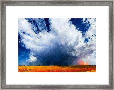 Framed Print featuring the painting Big Cloud In A Field by Bruce Nutting