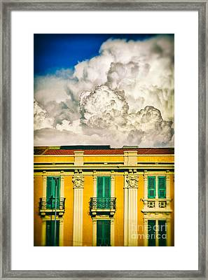 Framed Print featuring the photograph Big Cloud Over City Building by Silvia Ganora