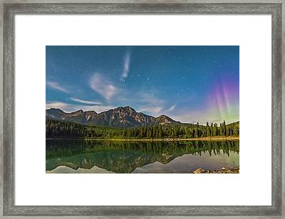 Big Dipper And Aurora Over Pyramid Framed Print by Alan Dyer