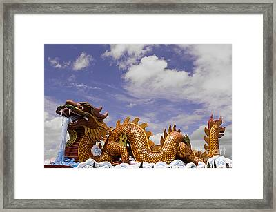 Big Dragon Statue And Blue Sky With Cloud In Thailand Framed Print