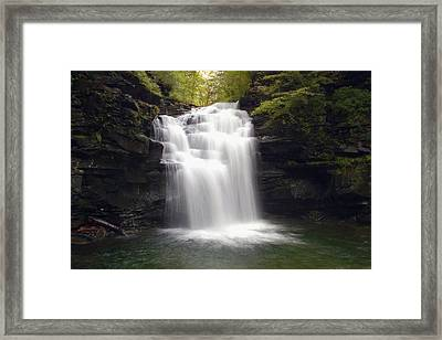 Big Falls In The Rain Framed Print by Gene Walls