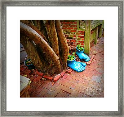 Big Foot Left His Filo Shoes Behind Framed Print by Lorraine Heath