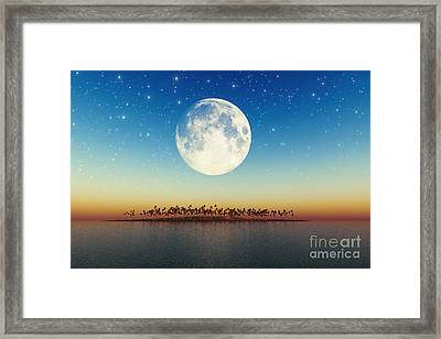 Big Full Moon Behind Island Framed Print by Aleksey Tugolukov