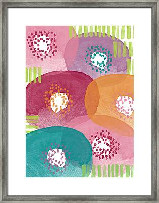 Big Garden Blooms- Abstract Florwer Art Framed Print by Linda Woods