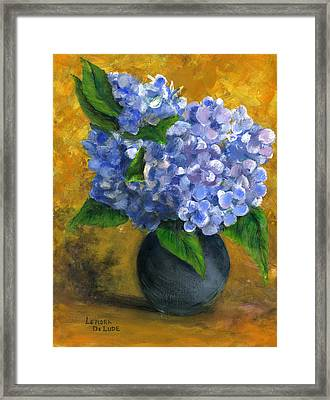 Big Hydrangeas In Little Black Vase Framed Print by Lenora  De Lude