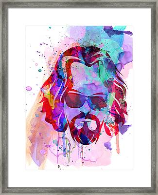 Big Lebowski Watercolor Framed Print by Naxart Studio