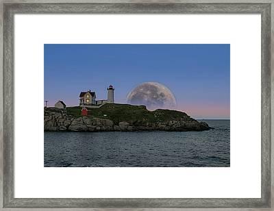 Big Moon Over Nubble Lighthouse Framed Print by Jeff Folger