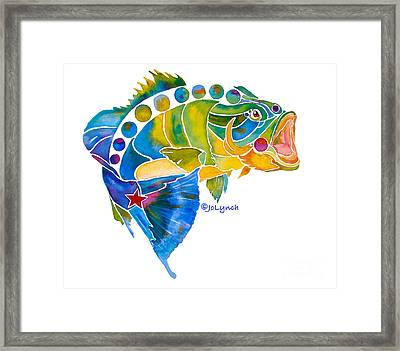 Big Mouth Bass Whimsical Framed Print by Jo Lynch