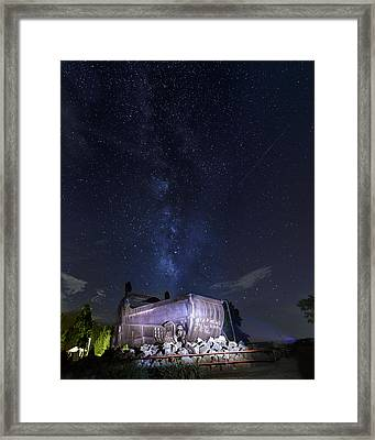 Big Muskie Bucket Milky Way And A Shooting Star Framed Print by Jack R Perry
