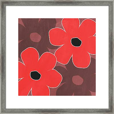 Big Red And Marsala Flowers Framed Print by Linda Woods