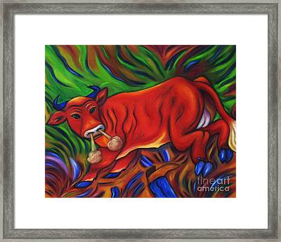 Framed Print featuring the painting Big Red Bull Bucks by Dianne  Connolly