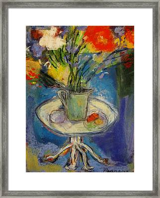 Big Red Flowers In A Pale Green Vase  Framed Print by Tolere