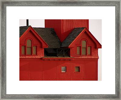 Big Red Holland Harbor Light Michigan Framed Print by Michelle Calkins