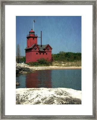 Big Red Holland Michigan Lighthouse Framed Print by Michelle Calkins
