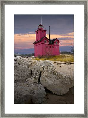 Big Red Lighthouse By Holland Michigan Framed Print by Randall Nyhof