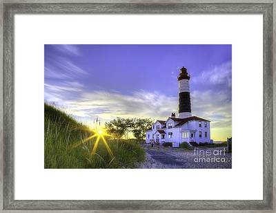 Big Sable Lighthouse Sunset Framed Print by Twenty Two North Photography