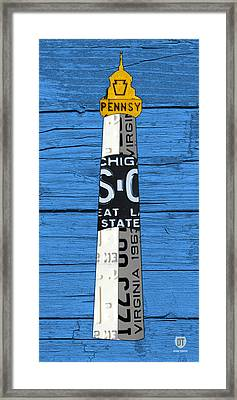 Big Sable Point Lighthouse Michigan Great Lakes License Plate Art Framed Print
