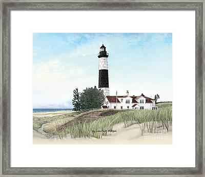 Big Sable Point Lighthouse Titled Framed Print
