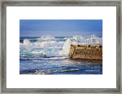 Big  Sea At Bondi Beach Australia Framed Print by Colin and Linda McKie