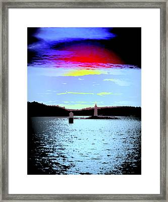 A Dark Night With A Big Sky But Small Lighthouses Framed Print by Hilde Widerberg