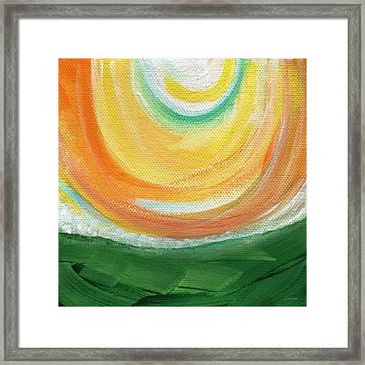 Big Sun- Abstract Landscape  Framed Print by Linda Woods
