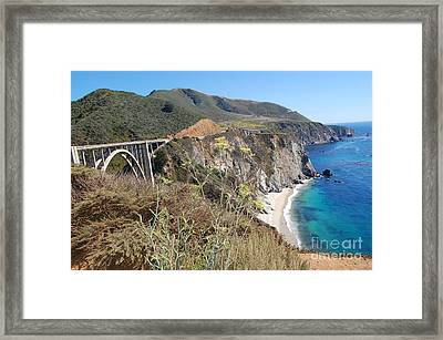 Framed Print featuring the photograph Big Sur Bixby Bridge And Beach by Debra Thompson
