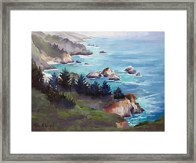 Big Sur In The Mist Framed Print by Karin  Leonard