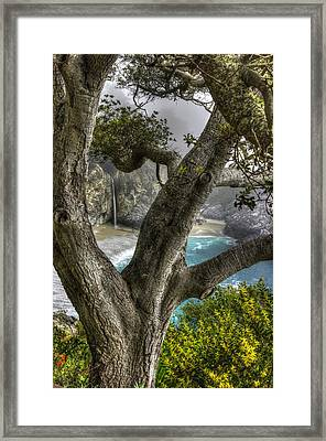 Big Sur Mc Way Falls At Julia Pfeiffer State Park-1 Central California Coast Spring Early Afternoon Framed Print by Michael Mazaika