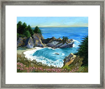 Big Sur Waterfall Framed Print by Alice Leggett