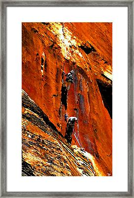 Big Wall Climbing In Zion Framed Print by David Lee Thompson
