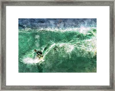 Big Wave Surfing Framed Print by Elaine Plesser