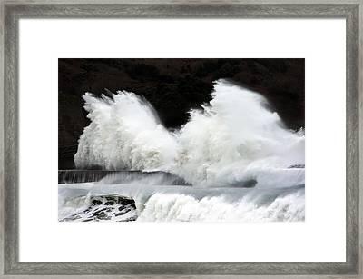 Big Waves Breaking On Breakwater Framed Print